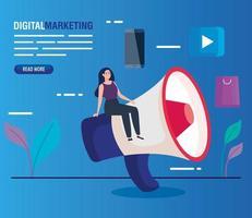 Mujer con megáfono y conjunto de iconos de diseño vectorial de marketing digital vector
