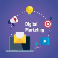 Portátil y sobre con conjunto de iconos de diseño vectorial de marketing digital vector