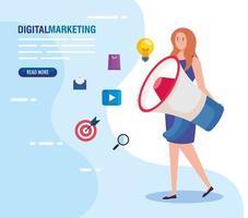 Mujer con megáfono y conjunto de iconos de diseño vectorial de marketing digital