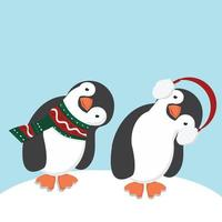 Cartoon penguins with earmuff and scarf vector