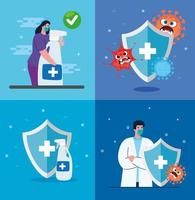 Mujer y médico masculino con máscara desinfectante de manos y diseño vectorial de escudos vector