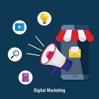 Smartphone con megáfono y conjunto de iconos de diseño vectorial de marketing digital