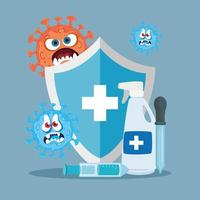 Shield hands sanitizer and covid 19 virus cartoons vector design