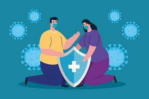Woman and man with medical mask and shield vector design