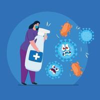 Mujer con dibujos animados de máscara y diseño vectorial de desinfectante de manos vector