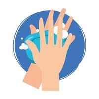Manos aisladas lavándose con diseño de vector de barra de jabón