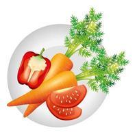 zanahoria, pimiento, y, tomate, vector, diseño vector