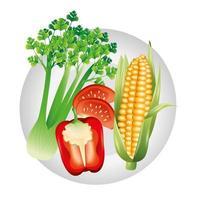 tomate, apio, pimiento, y, maíz, vegetal, vector, diseño vector