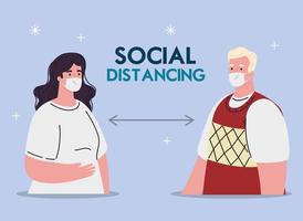 woman old man and social distancing between them vector design