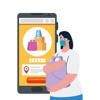 cliente mujer con máscara y teléfono inteligente con cajas y bolsas de diseño vectorial vector
