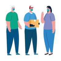 Clientes y repartidor con máscara y diseño vectorial de caja. vector
