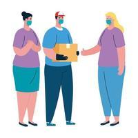 Clientes mujeres y repartidor con diseño de vector de máscara y caja