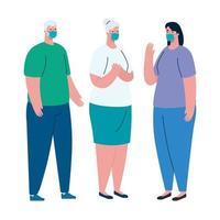 Pareja de ancianos y avatar de mujer con diseño de vector de máscara médica