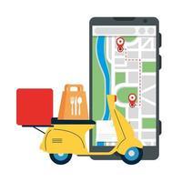 smartphone con gps marca motocicleta y diseño de vector de bolsa de comida