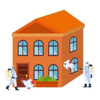 Men with protective suit spraying house with covid 19 virus vector design