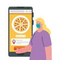 cliente mujer con máscara y teléfono inteligente con diseño de vector de pizza