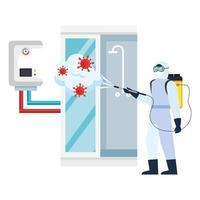 Hombre con traje protector rociando ducha con diseño de vector de virus covid 19