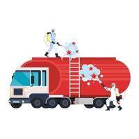 Man with protective suit spraying fuel truck with covid 19 virus vector design