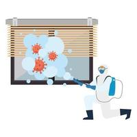 Man with protective suit spraying window with covid 19 virus vector design
