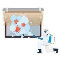 Hombre con traje protector rociando ventana con diseño de vector de virus covid 19