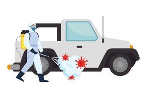 Hombre con traje de protección rociando coche con diseño de vector de virus covid 19