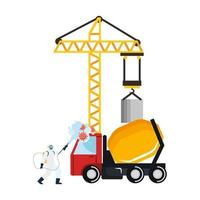 Man with protective suit spraying crane and concrete mixer truck with covid 19 virus vector design
