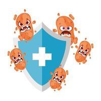 Virus cartoon on shield with cross vector design