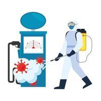 Hombre con traje protector rociando bomba de gasolina con diseño de vector de virus covid 19