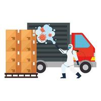 Man with protective suit spraying delivery truck with covid 19 virus vector design
