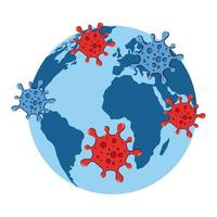 Covid 19 virus on world vector design