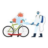 Hombre con traje protector rociando bicicleta y patineta con diseño vectorial de virus covid 19 vector