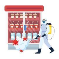 Hombre con traje de protección rociando nevera de tienda con diseño de vector de virus covid 19