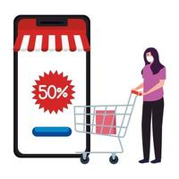 Woman with mask smartphone and shopping cart vector design