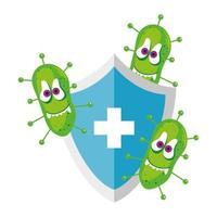 Dibujos animados de virus covid 19 en escudo con diseño vectorial cruzado vector