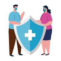 Woman and man avatar with medical mask and shield vector design