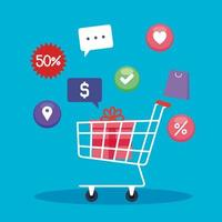 Gift inside shopping cart and icon set vector design
