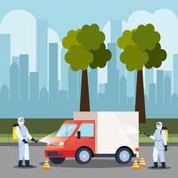 truck car disinfection service, prevention coronavirus covid 19, clean surfaces in car with a disinfectant spray, persons with biohazard suit vector