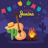 festa junina con guitarra y decoración, festival de junio de brasil, decoración de celebración