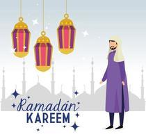 tarjeta islámica ramadan kareem, hombre musulmán con linternas colgando decoración