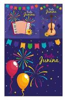 festa junina set cards, brazil june festival with decoration vector
