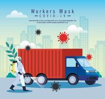 servicio de desinfección de camiones, prevención coronavirus covid 19, limpieza de superficies en el automóvil con un aerosol desinfectante, persona con traje de riesgo biológico vector