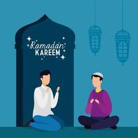 tarjeta islámica ramadan kareem, hombres sentados con las piernas cruzadas vector
