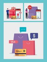man and woman with bags and credit card vector design