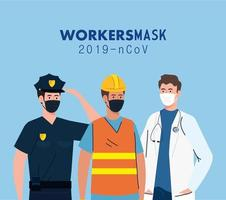 group workers wearing medical mask against 2019 ncov vector