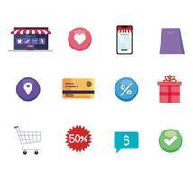 Shopping online icon set vector design