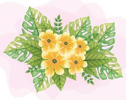 flowers yellow color, with leaves nature, spring concept vector