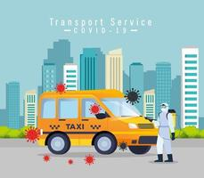 taxi car disinfection service, prevention coronavirus covid 19, clean surfaces in car with a disinfectant spray, person with biohazard suit vector