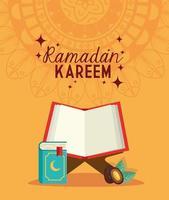 tarjeta islámica ramadan kareem, libro corán abierto y fecha de fruta