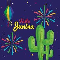 festa junina with cactus and decoration, brazil june festival, celebration decoration vector