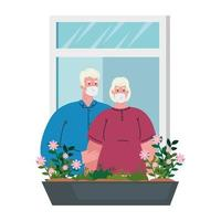 stay at home concept, window, old couple look out of home, quarantine or self isolation